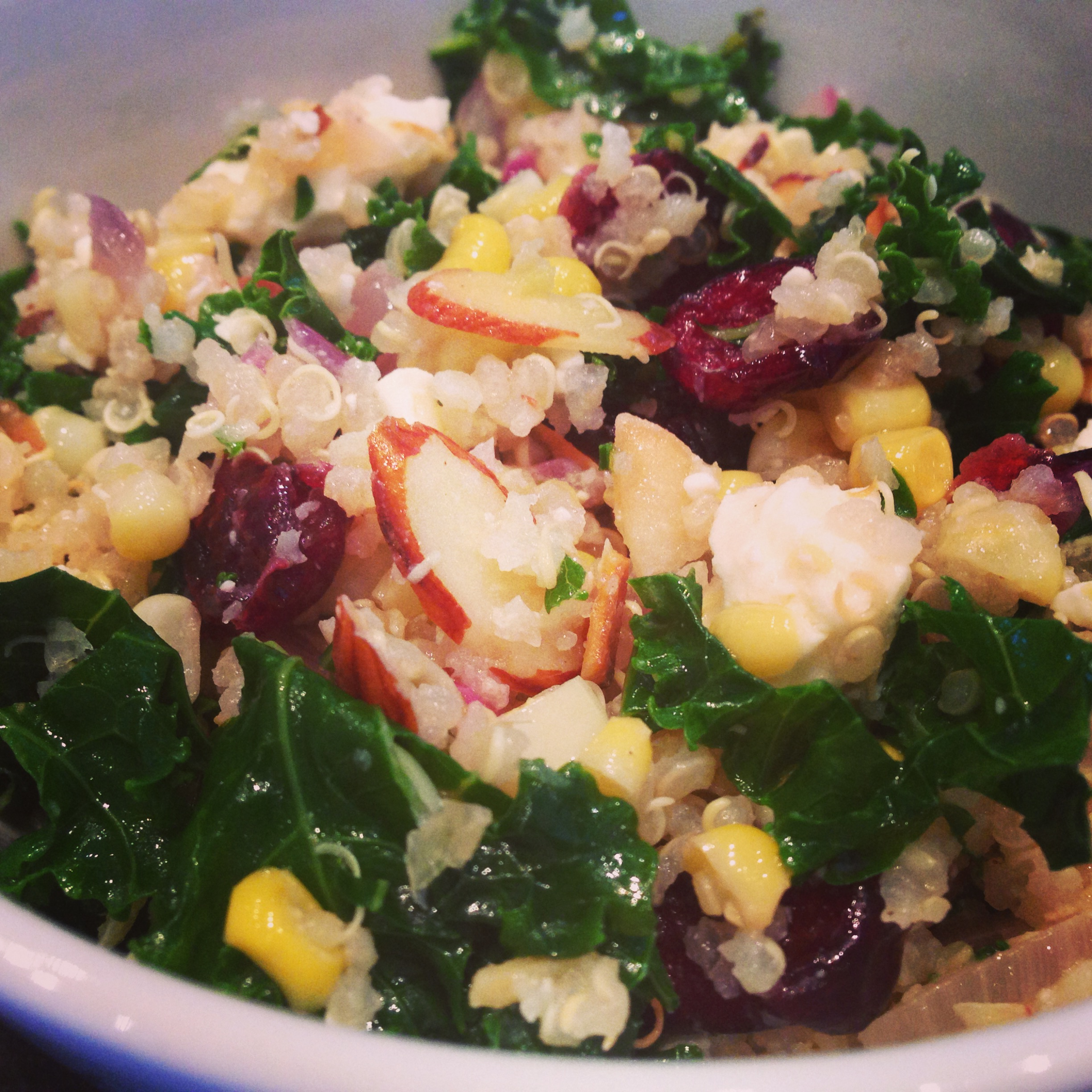 Quinoa, Kale  Corn Salad with Cranberries and Feta Ski Boots in