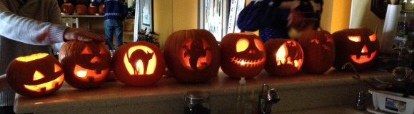 Carving pumkins with friends