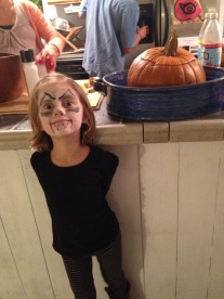 My niece dressed up for Halloween and ready to eat Stew!