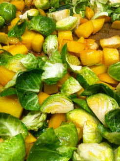 Maple Roasted Brussel Sprouts with Rutabaga and Toasted Hazelnuts