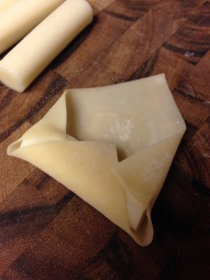 Fold the wonton over the cheese